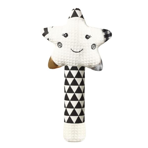 BabyOno Plyšová pískacia hračka Smiling Star - biela