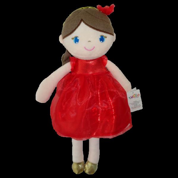 Handrová bábika Inez, Tulilo, 38 cm - červená