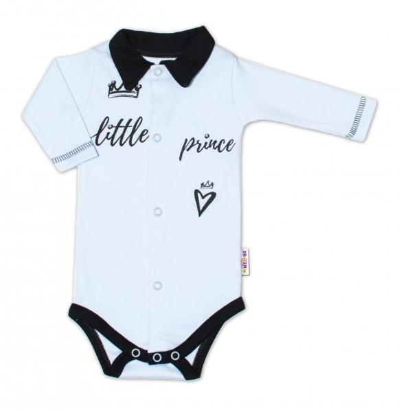 Baby Nellys Body dlhý rukáv s golierikom, veľ. 62, modré Little Prince