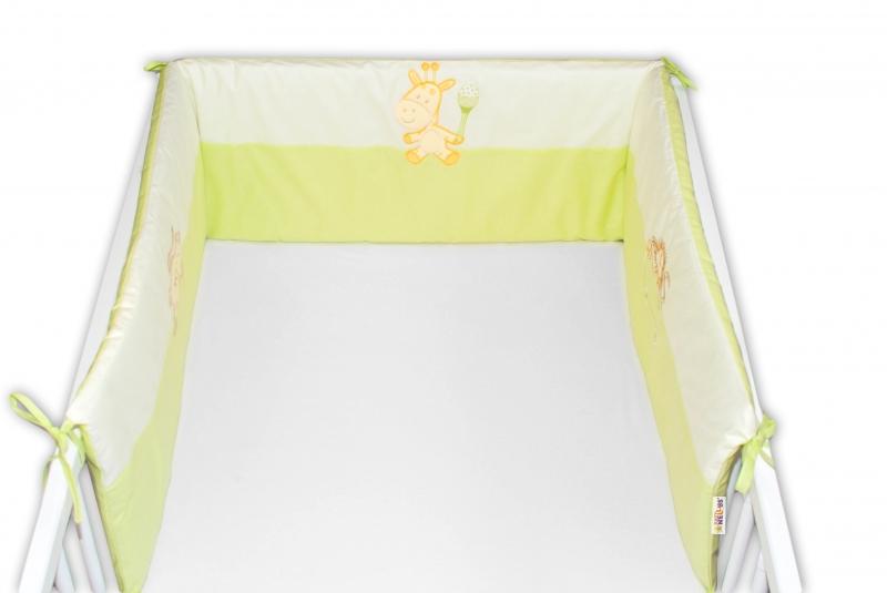 Baby Nellys Mantinel do postieľky 35x180 cm - zelený opička/žirafka