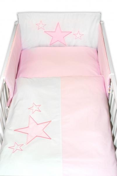 Baby Nellys Mantinel s obliečkami Baby Stars  - ružový, veľ. 135x100cm