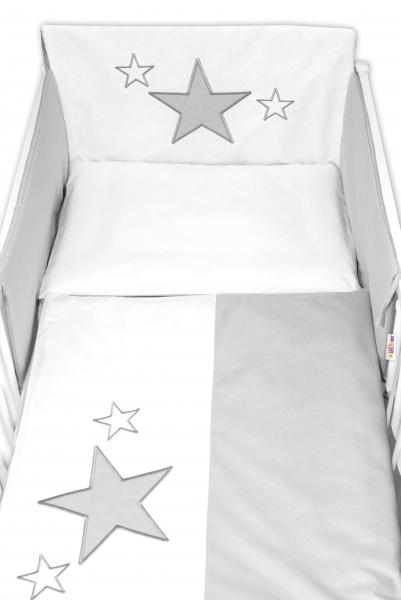 Baby Nellys Mantinel s obliečkami Baby Stars - sivý, veľ. 135x100 cm