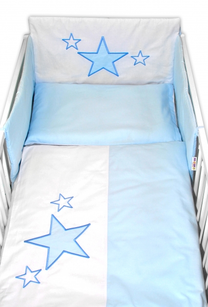 Baby Nellys Mantinel s obliečkami Baby Stars - modrý, veľ. 135x100 cm-135x100
