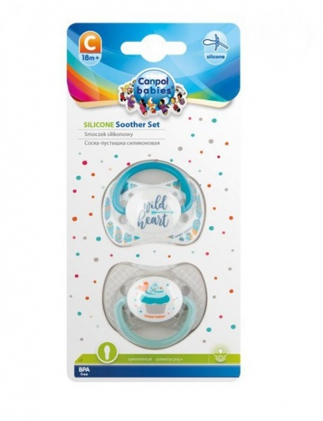 Sada symetrických cumlíkov, 18 m+, Canpol Babies - Wild heart, Cupcake