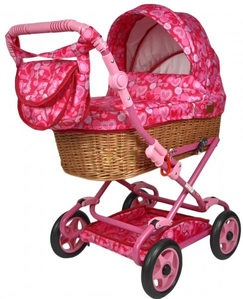 NESTOR Detský prútený kočík pre bábiky Anička - růžový so srdiečkami