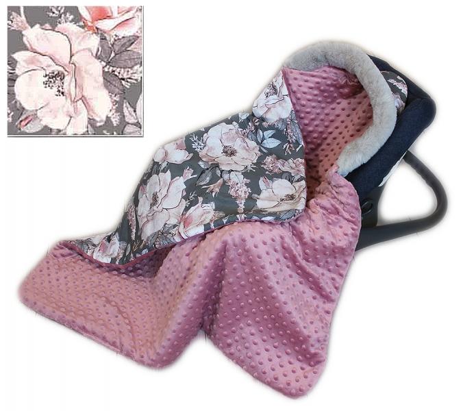 Baby Nellys Bavlnená obojstranná deka 3v1 s minky a kožušinkou, 90x90 cm, roses
