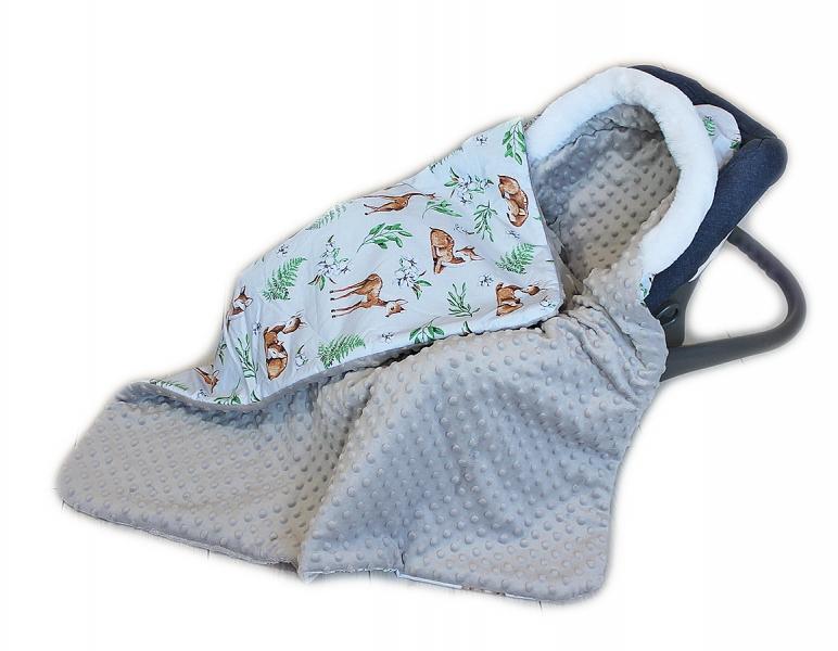 Baby Nellys Bavlnená obojstranná dečka 3v1 s minky a kožušinkou, 90x90 cm, srnky
