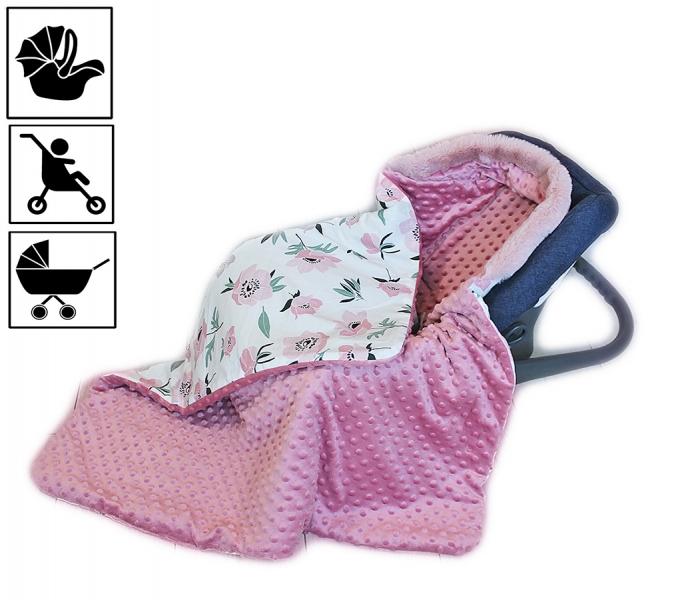 Baby Nellys Bavlnená obojstranná deka 3v1 s minky a kožušinkou, 90x90 cm, kvietky