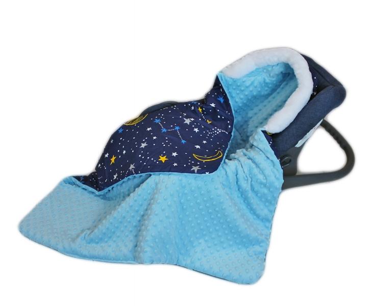 Baby Nellys Bavlnená obojstranná deka 3v1 s minky a kožušinkou, 90x90 cm, fareb. vesmír