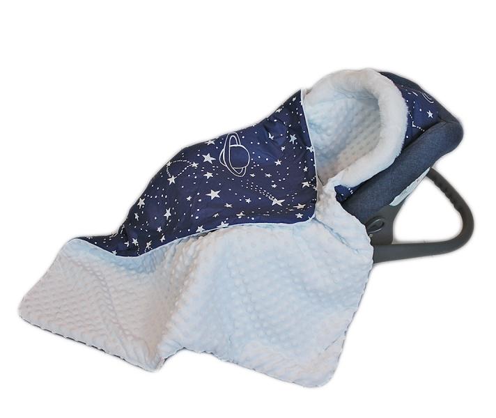 Baby Nellys Bavlnená obojstranná deka 3v1 s minky a kožušinkou, 90x90 cm, hviezdičky biele