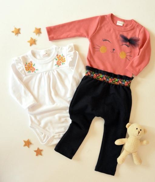 K-Baby Sada 2 x body dl. rukáv + 1 x tepláčky, Kvetinky, biela/losos/granát, veľ. 68