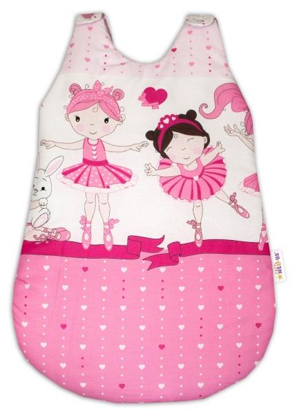 Bavlnený spací vak Baby Nellys, Princess, 74 cm -ružový