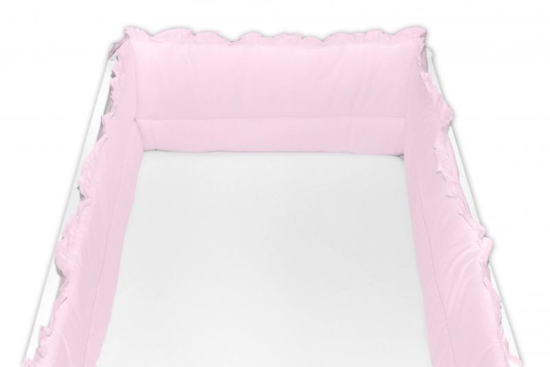 Baby Nellys Mantinel do postieľky 360x30 cm s volánikom, růžový