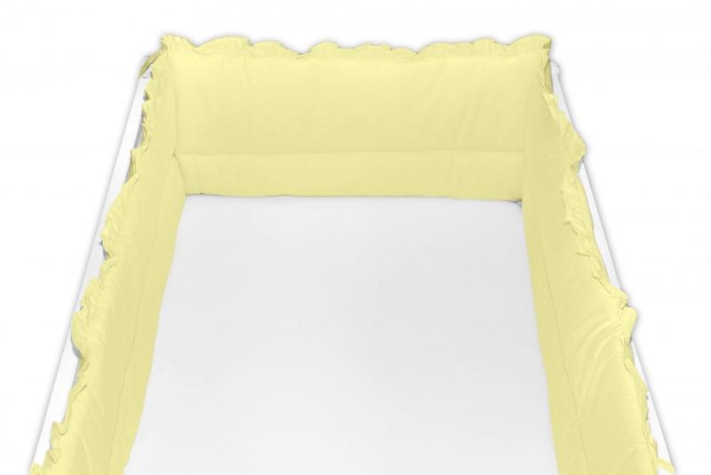 Baby Nellys Mantinel do postieľky 360x30 cm s volánikom, žltý