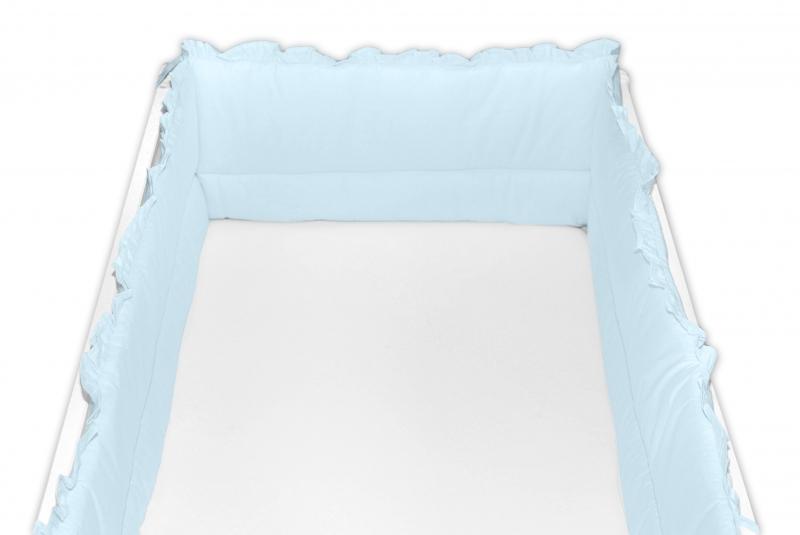 Baby Nellys Mantinel do postieľky 360x30 cm s volánikom, sv. modrá