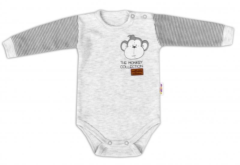 Baby Nellys Body dlhý rukáv Monkey - sv. šedý melírek, veľ. 68