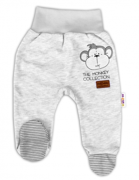 Baby Nellys Dojčenské polodupačky Monkey - sv. sivý melírek, veľ. 62