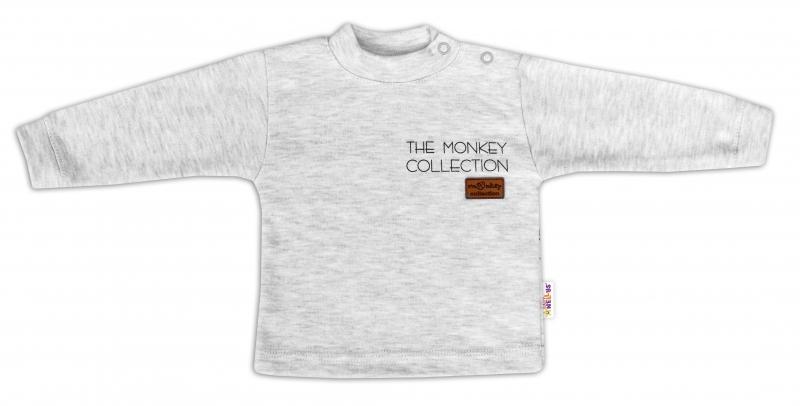 Baby Nellys Bavlnené tričko dlhý rukáv Monkey - sv. sivý melírek, vel. 74
