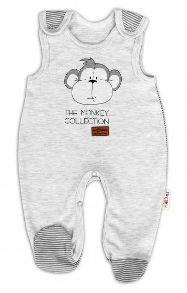 Dojčenské bavlnené dupačky Baby Nellys Monkey - sv. sivý melírek, veľ. 56