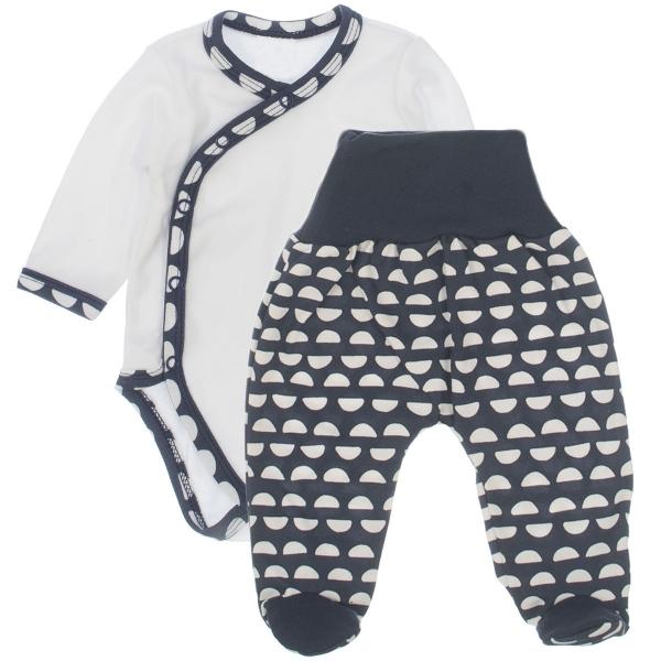 Baby 2 - dielna súpravička body dl. rukáv + polodupačky Medvedík Koka - granátová