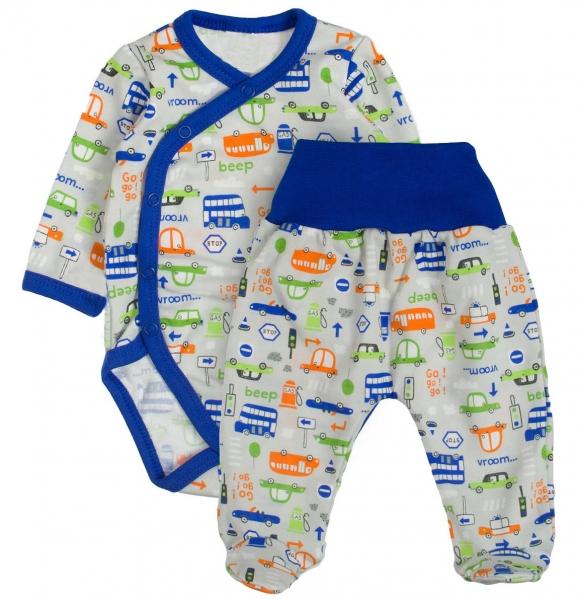 Baby 2 - dielna súpravička body dl. rukáv + polodupačky Autíčka - modrá, veľ. 68
