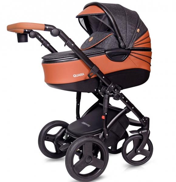 Kočík Coto Baby 2 v 1 QUARA Eco - tm. šedá, hnedá