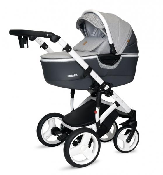 Kočík Coto Baby 2 v 1 QUARA Eco - šedá/biela