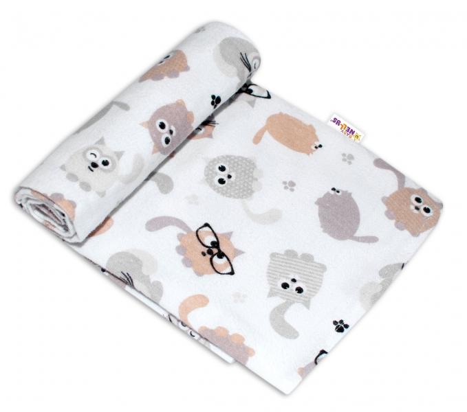 Baby Nellys Kvalitná flanelová plienka, 70x80cm - Mačky
