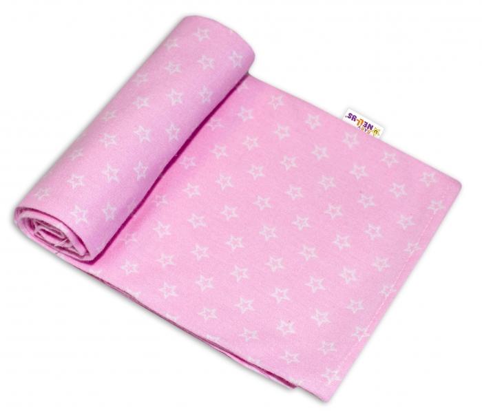 Baby Nellys Kvalitná flanelová plienka, 70x80cm - Mini hvezdičky v ružové