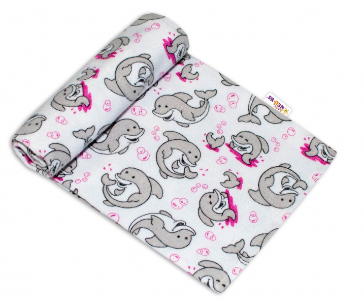 Baby Nellys Kvalitná flanelová plienka, 70x80cm - Delfínci