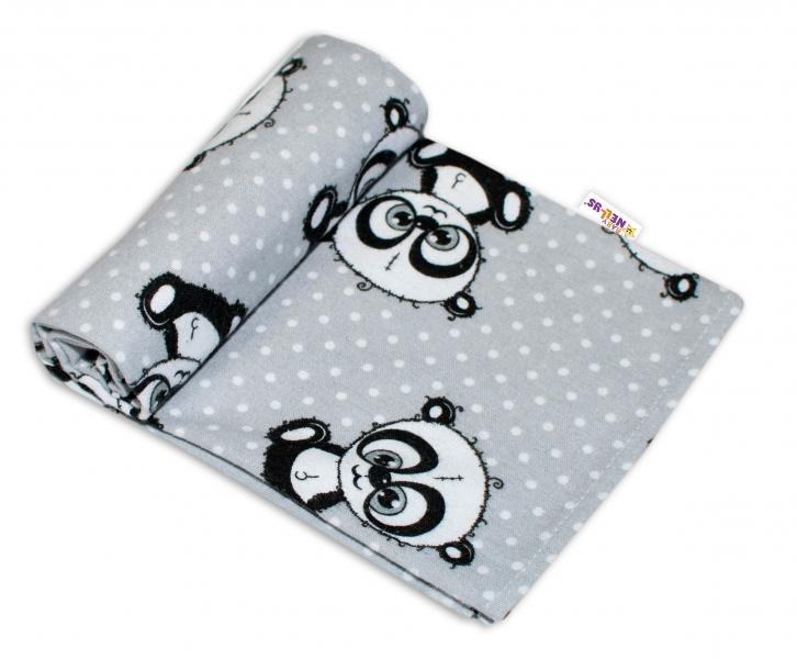 Baby Nellys Kvalitná flanelová plienka, 70x80cm - Panda sivá, bodky