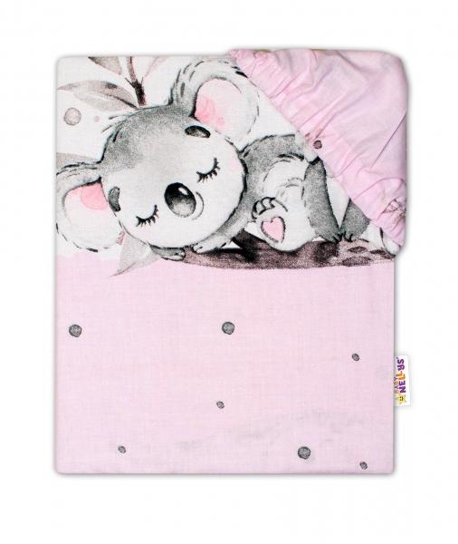 Baby Nellys Detské bavlnené prestieradlo do postieľky - Medvedík Koala, ružová, 120x60 cm