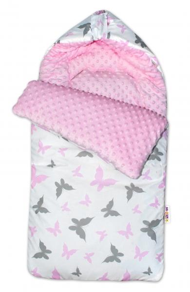 Baby Nellys Fusak, spacáček Minky s vankúšikom Motýliky - růžový/sv. růžový