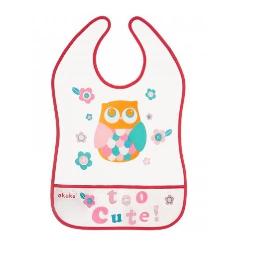 Akuku Plastový podbradník/zásterka s vreckom Owl - malinový