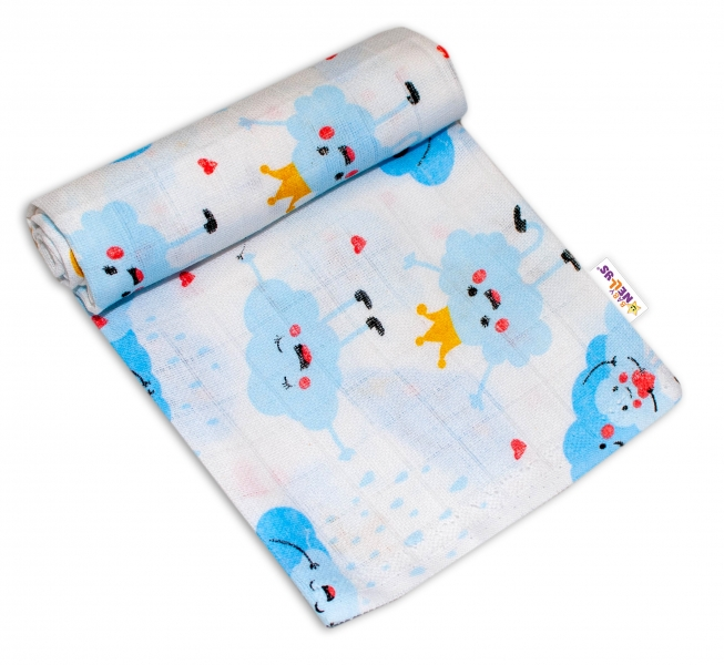 Baby Nellys Kvalitná bavlnená plienka - Tetra Premium, 70x80cm - Mráčky
