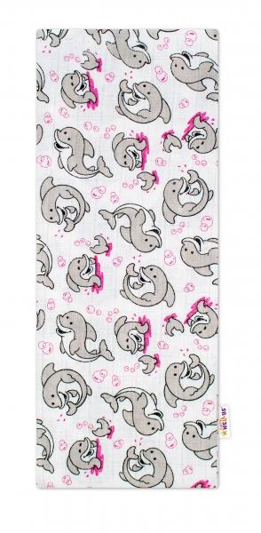 Baby Nellys Kvalitná bavlnená plienka - Tetra Premium, 70x80cm - Delfíny