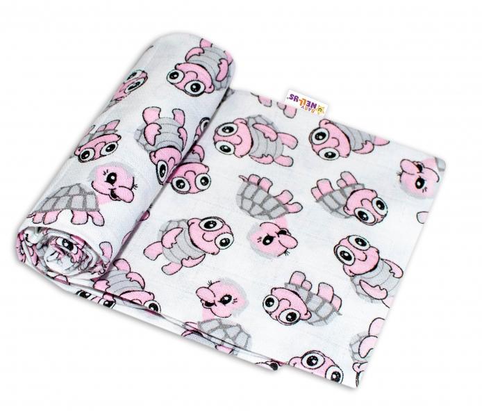 Baby Nellys Kvalitná bavlnená plienka - Tetra Premium, 70x80cm - Korytnačky ružové
