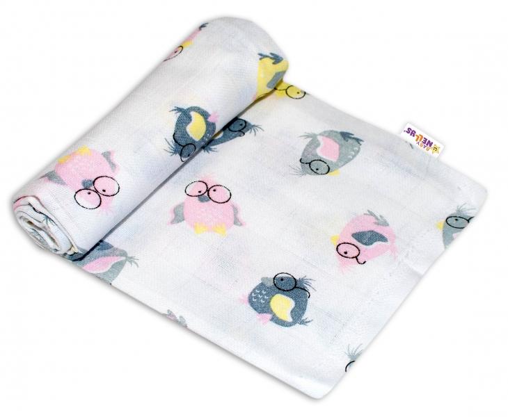 Baby Nellys Kvalitná bavlnená plienka - Tetra Premium, 70x80cm - Vtáčiky