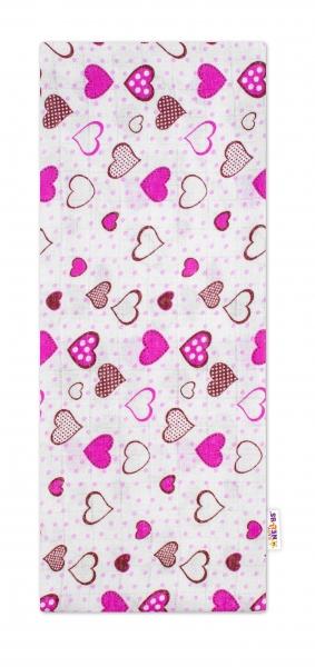 Baby Nellys Kvalitná bavlnená plienka - Tetra Premium, 70x80cm - Srdiečka ružové