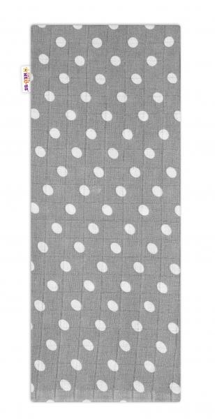 Baby Nellys Kvalitná bavlnená plienka - Tetra Premium, 70x80cm - Bodky biele na sivé