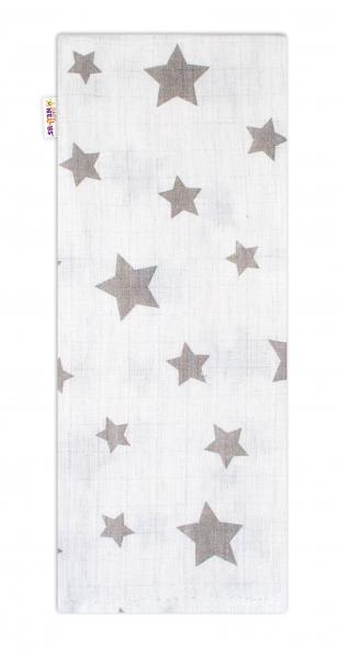 Baby Nellys Kvalitná bavlnená plienka - Tetra Premium, 70x80cm - Hvezdičky sivé na bielej