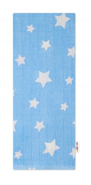 Baby Nellys Kvalitná bavlnená plienka - Tetra Premium, 70x80cm - Hvezdičky biele na modré