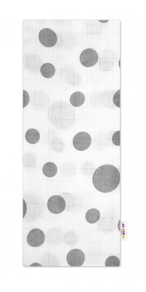 Baby Nellys Kvalitná bavlnená plienka - Tetra Premium, 70x80cm - Bodky sivé na bielej