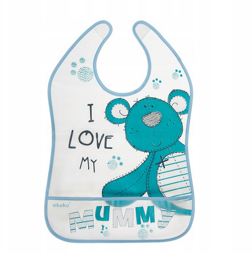 Akuku Plastový podbradník/zásterka s vreckom Teddy Bear - modrý