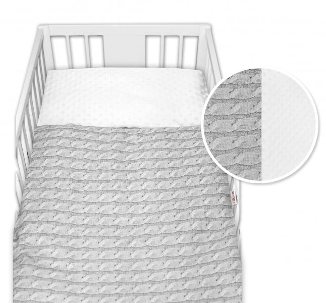 2-dielne bavlnené obliečky  minky Baby Nellys, Pletený vrkoč - sivý, 135x100cm