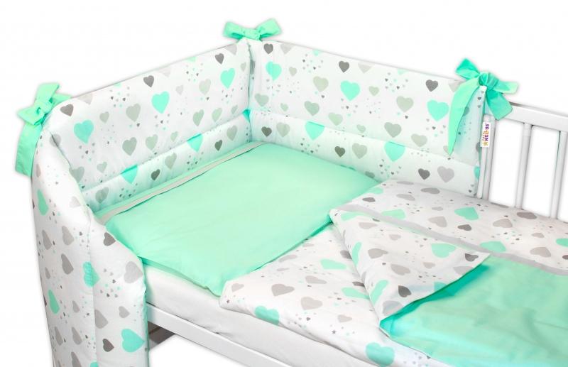 3-dielna sada mantinel s obliečkami Baby Nellys, Srdiečka a hviezdičky, mätová, 135x100 cm-135x100