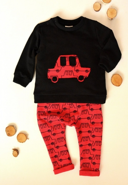 K-Baby Sada triko/mikinka + tepláčky Army - čierna/červená, veľ. 68-68 (4-6m)