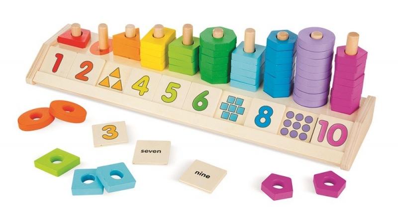 Melissa&Doug Drevená vzdelávacia hračka - počítanie, farby, tvary