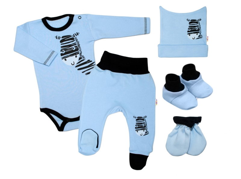 Baby Nellys Súpravička do pôrodnice Zebra - modrá-#Velikost koj. oblečení;50 (0-1m)