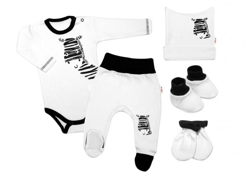 Baby Nellys Súpravička do pôrodnice Zebra - biela-#Velikost koj. oblečení;50 (0-1m)